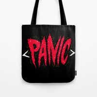 panic at the disco Tote Bags featuring PANIC by Chris Piascik