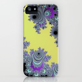Asymmetrical Fractal in Yellow, Black and Purple iPhone Case