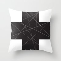 cross Throw Pillows featuring Cross by hyun yu
