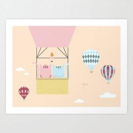 Traveling Tabbies: Hot Air Balloon Art Print