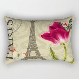 Vintage Paris & Flower Collage Rectangular Pillow
