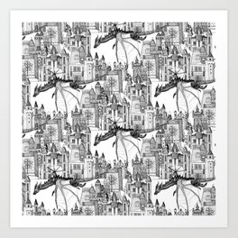 Dragon Kingdom Winter Toile Art Print