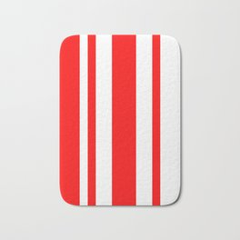 Mixed Vertical Stripes - White and Red Bath Mat