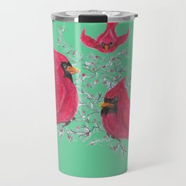 Three Cardinals And Berries Travel Mug