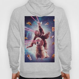 Laser Eyes Space Cat Riding Sloth, Dog - Rainbow Hoody