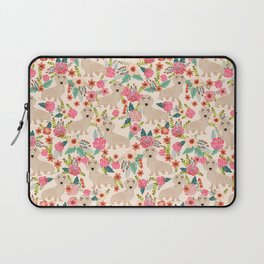 Doxie Florals - vintage doxie and florals gift gifts for dog lovers, dachshund decor, cream doxie Laptop Sleeve