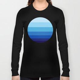Colorful Blue Gradient Geometric Pattern Long Sleeve T-shirt