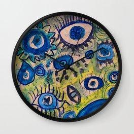 Evil eye,blue,decor,poster,wall art,artwork,painting,feminine,protection,greek,turkish,eyes,graffiti,sketch,cool,dope,pretty,gift,doodle,street art,present,nazar,jewish,buddhist,hindu,islam Wall Clock