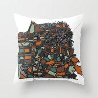 san francisco map Throw Pillows featuring San Francisco  by BigRedSharks