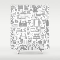 cinema Shower Curtains featuring Cinema a background by aleksander1