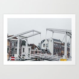 Iconic bridge and canal houses near Spaarne river in Haarlem in winter | Haarlem historical city, the Netherlands | Urban travel photography Art Print Art Print