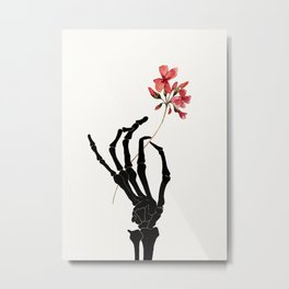 Skeleton Hand with Flower Metal Print