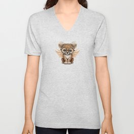 Cute Leopard Cub Fairy Wearing Glasses on Blue Unisex V-Neck