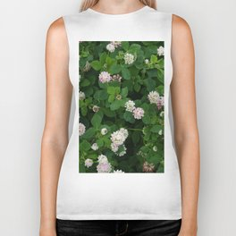 Clover flowers green and white floral field Biker Tank