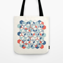 Soft Red, White & Blue Hexagon Pattern Play Tote Bag
