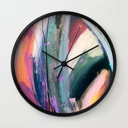 Eye of the Beholder [4]: a colorful, vibrant abstract in purples, blues, orange, pink, and gold Wall Clock