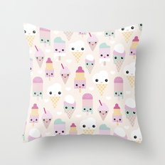 Cute kawaii summer Japanese ice cream cones and popsicle p Throw Pillow
