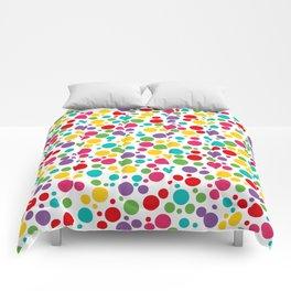 Colorful Abstract Rainbow Polkadot Comforters