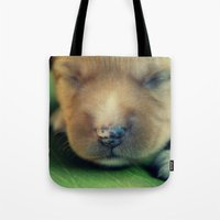 puppy Tote Bags featuring Puppy by Luiza Lazar