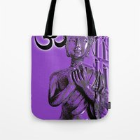 om Tote Bags featuring OM by Enri-Art