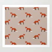 foxes Art Prints featuring Foxes by Abby Galloway
