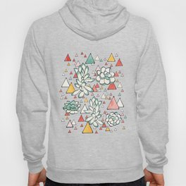 Succulent and triangles seamless pattern Hoody