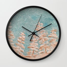 Golden trees on a cold day Wall Clock