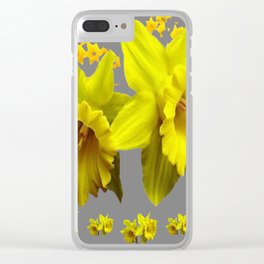 YELLOW DAFFODILS CHARCOAL GREY FLORAL Clear iPhone Case