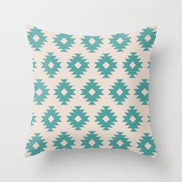 Southwestern Pattern 435 Beige and Turquoise Throw Pillow