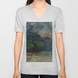 """Gustave Courbet """"Lac Léman avant la tempête (Lake Geneva before the storm)"""" Unisex V-Neck"""