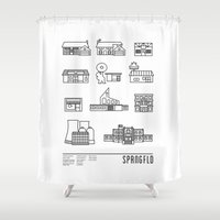 cartoons Shower Curtains featuring SPRNGFLD by Josh Ln