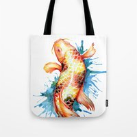 koi fish Tote Bags featuring Koi Fish by Sam Nagel