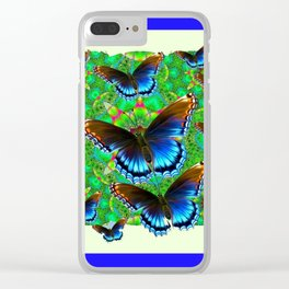 BLUE-BROWN BUTTERFLY GREEN ART Clear iPhone Case