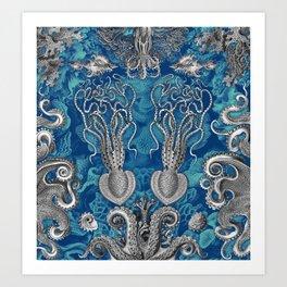 The Kraken (Blue - No Text, Alt.) Art Print
