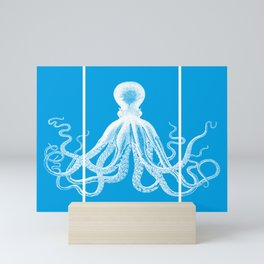 Octopus Faux Triptych   Vintage Octopus   Tentacles   Turquoise Blue and White   Mini Art Print