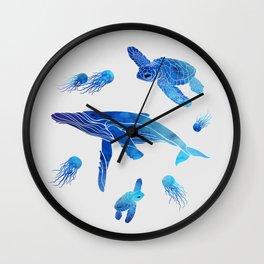 Blue Watercolor Sea Creatures Wall Clock