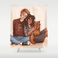 hermione Shower Curtains featuring Ron and Hermione by Susanne