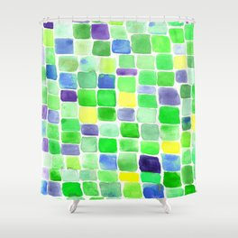 Colorfield Green and Blue Shower Curtain