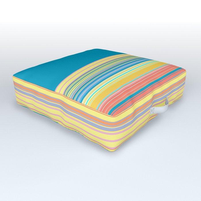 Bright Yellow Blue summer Stripes Outdoor Floor Cushion