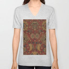 Flowery Boho Rug II // 17th Century Distressed Colorful Red Navy Blue Burlap Tan Ornate Accent Patte Unisex V-Neck