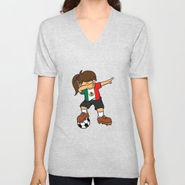 Mexico Soccer Ball Dabbing Girl Mexican Football 2018 Unisex V-Neck