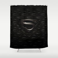 superman Shower Curtains featuring SUPERMAN by Smart Friend