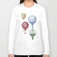 hot air balloons Long Sleeve T-shirts featuring Colorful Hot Air Balloons by Zen and Chic
