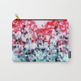geometric square pattern heart shape abstract background in red pink blue Carry-All Pouch