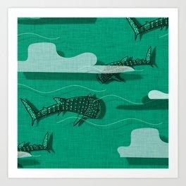 Whale Shark Green #nautical #whaleshark Art Print