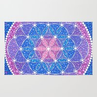 flower of life Area & Throw Rugs featuring Starry Flower of Life by Elspeth McLean