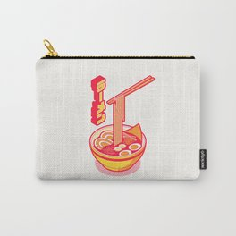Japanese Ramen Isometric Minimal - White Yellow Carry-All Pouch