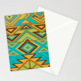 Native Aztec Turquoise Tribal Rug Pattern Stationery Cards