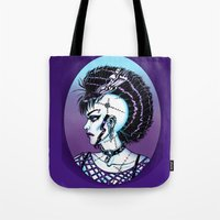 punk rock Tote Bags featuring Punk Rock Girl by Eeriette