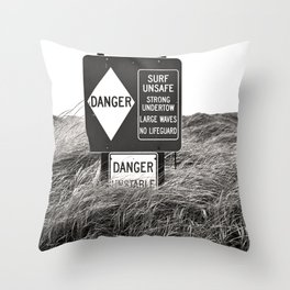 """Surf Unsafe, Strong Undertow"" Beach Access Sign Washington Coast, Pacific Northwest Throw Pillow"